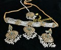 GOLDEN BASED HYDERABADI DESIGN GULUBAND COLLAR PATTI PEARL NECKLACE SET