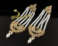 BEAUTIFUL DESIGN GOLDEN BASED KUNDAN STONES LONG EARRING