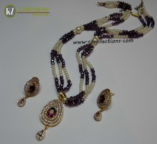 GOLD PLATED ZIRCON INDIAN PENDANT SET ALONG WITH MATCHING MALA