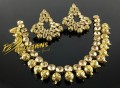 GOLDEN ANTIQUE BASED POLKIE STONES NECKLACE SET