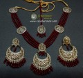 TRADITIONAL LOOK POLKIE STONES GOLDEN BASED 4 LAYERS RUBY COLOUR PEARLS NECKLACE SET