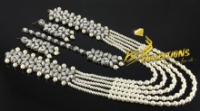 BEAUTIFUL DESIGN SILVER BASED KUNDAN STONES MALA SET