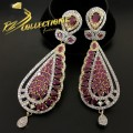GOLD PLATED ZIRCON WITH SEMI PRECIOUS STONES INDIAN EARRING