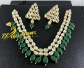 GOLDEN BASED KUNDAN STONES 2 LAYERS NECKLACE SET