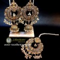 TRADITIONAL LOOK POLKIE STONES GOLDEN BASED HANGING BEATS JHUMKI WITH MATCHING TEEKA