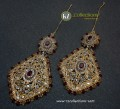 TRADITIONAL LOOK POLKIE & SEMI PRECIOUS STONES GAJRA BEATS EARRING