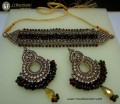 TRADITIONAL LOOK WITH GOLDEN BASED ALONG WITH GAJRA BEATS NECKLACE SET