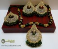 STYLISH TRADITIONAL LOOK WITH GOLDEN BASED ALONG WITH GAJRA CRYSTALS BEATS  PENDANT SET