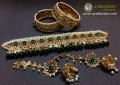 GOLDEN BASED HYDERABADI DESIGN WITH SEMI PRECIOUS STONES GULUBAND NECKLACE SET WITH MATCHING BANGLE