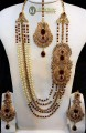 STYLISH GOLD PLATED ZIRCON ALONG WITH SEMI STONES 5 LAYERS BRIDAL SET