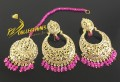 GOLDEN BASED POLKIE STONES EARRING MATCHING TEEKA
