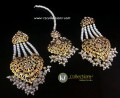 GOLDEN BASED HYDERABADI DESIGN WITH EARRING WITH MATCHING TEEKA