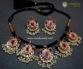 DECENT LOOK GOLDEN BASED SEMI PRECIOUS STONES HYDERABADI DORA SET