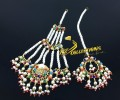 NEW HYDERABADI DESIGN SEMI PRECIOUS STONES NAURATAN JHOOMER MATCHING TEEKA