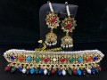 HYDERABADI DESIGN SEMI PRECIOUS STONES NAURATAN GULUBAND NECKLACE SET