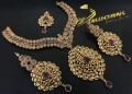 BEAUTIFUL DESIGN TRADITIONAL LOOK GOLD PLATED POLKIE & SEMI PRECIOUS STONES NECKLACE SET