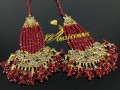 GOLD PLATED ZIRCON & KUNDAN STONES HEAVY LOOK LONG EARRING