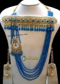STYLISH GOLDEN BASED 5 LAYERS BUNCH MALA WITH ATTACHED GULUBAND NECKLACE SET