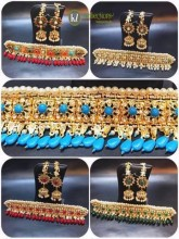GOLDEN BASED HYDERABADI DESIGN WITH SEMI PRECIOUS STONES GILUBAND NECKLACE SET