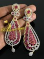 GOLD PLATED ZIRCON SEMI PRECIOUS STONES FINE QUALITY LONG EARRING