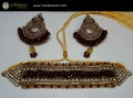 STYLISH TRADITIONAL LOOK WITH GOLDEN BASED ALONG WITH GAJRA BEATS NECKLACE SET