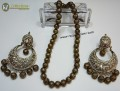 STYLISH GOLDEN ANTIQUE BALLS MALA WITH MATCHING POLKIE EARRING