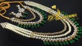 GOLDEN BASED KUNDAN STONES LONG MALA NECKLACE SET