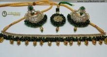 STYLISH TRADITIONAL LOOK WITH POLKIE STONES ALONG WITH GAJRA BEATS NECKLACE SET