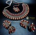 DECENT LOOK SILVER BASED & HANGING GAJRA BEATS NECKLACE SET