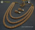 TRADITIONAL LOOK GOLDEN BASED 3 LAYERS PEARL INDIAN MALA NECKLACE SET