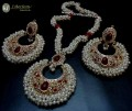 TRADITIONAL LOOK POLKIE & SEMI PRECIOUS STONES GOLDEN BASED GAJRA BEATS NECKLACE SET