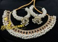 TRADITIONAL LOOK GAJRA BEATS NECKLACE SET WITH CHAMPAGNE POLKIE STONES