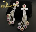 GOLD PLATED ZIRCON WITH NSEMI PRECIOUS STONES INDIAN EARRING