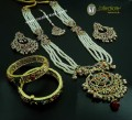 STYLISH GOLDEN BASED HYDERABADI 5 LAYERS BRIDAL SET WITH MATCHING HYDERABADI BANGLE