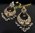 GOLDEN BASED HYDERABADI DESIGN WITH SEMI PRECIOUS STONES EARRING