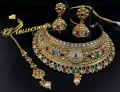 TRADITIONAL LOOK GOLDEN BASED ZIRCON STONES COMPLETE BRIDAL SET