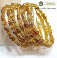 DECENT LOOK GOLD PLATED ZIRCON WITH SEMI PRECIOUS STONES 6 PIECES BANGLE