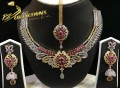 GOLD PLATED ZIRCON WITH SEMI PRECIOUS STONES INDIAN NECKLACE SET