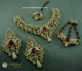 DECENT LOOK GOLDEN BASED ZIRCON BRIDAL SET