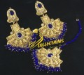 TRADITIONAL LOOK GOLDEN BASED GAJRA BEATS EARRING MATCHONG TEEKA