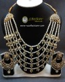 GOLDEN BASED HYDERBADI DESIGN 5 LAYERS MALA NECKLACE SET