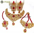 DECENT LOOK ZIRCON STONES GOLDEN BASED COMPLETE BRIDAL SET