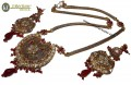 TRADITIONAL LOOK GOLD PLATED WITH POLKIE STONES LONG NECKLACE SET