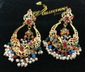 GOLDEN BASED HYDERABADI DESIGN WITH SEMI PRECIOUS STONES NAURATAN EARRING