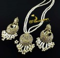 Golden Based Traditional Look PENDANT SET with Polkie Stones and Attached Mala