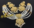 NEW HYDERABADI DESIGN 6 LAYERS PEARLS NECKLACE SET
