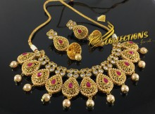BEAUTIFUL DESIGN GOLD PLATED ZIRCON TRADITIONAL NECKLACE SET