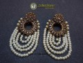GOLDEN ANTIQUE BASED WITH HANGING 4 LAYERS PEARL EARRING