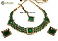 TRADITIONAL LOOK GOLDEN BASED COLOUR STONES INDIAN NECKLACE SET