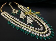GOLDEN BASED POLKIE & KUNDAN STONES MALA NECKLACE SET